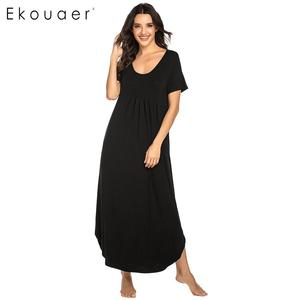 Image 2 - Ekouaer נשים ארוך כתונת לילה Loungewear שמלת Nightwear O צוואר קצר שרוול מוצק הלבשת לילה שמלת נקבה Sleepshirts