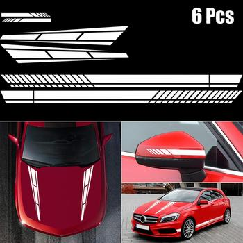 Car Side Stickers For Audi BMW Ford Volkswagen Toyota Honda Stripe Auto Vinyl Film Rearview Mirror Sticker Car Tuning Accessory car styling racing sticker body waist car stickers door side scratches decorative decals for ford vw bmw toyota audi honda mazda