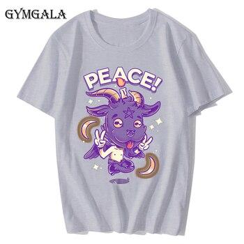 100% cotton anime cartoon Geng ghost printed men's T-shirt summer cotton short-sleeved T-shirt fashion tops tee men's clothing f - XQ-131gray, Asian size XL