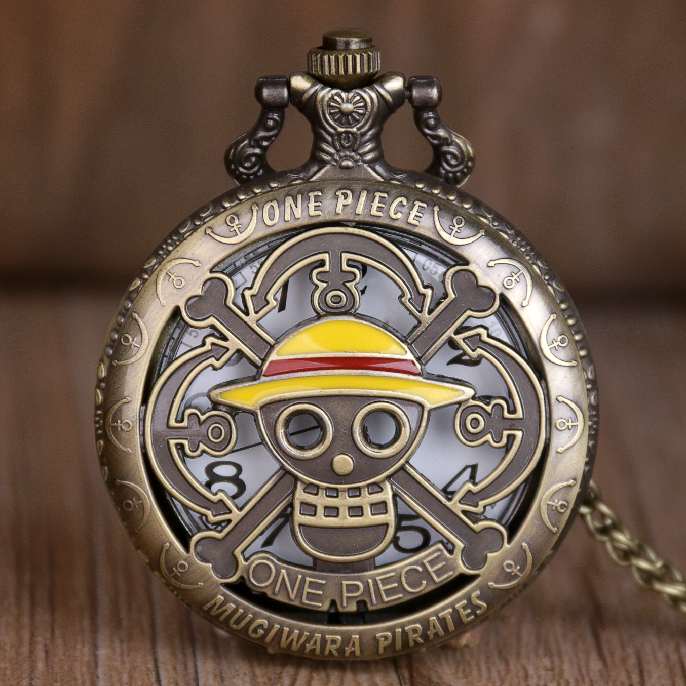Retro Japan Anime One Piece Theme Pattern Pocket Watch With Chain Steampunk Pendant Necklace Pocket & Watch Gifts Dropshipping