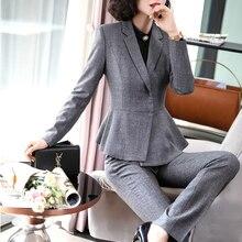 Novelty Grey Formal Women Business Suits Uniform Designs Blazers Autumn Winter P