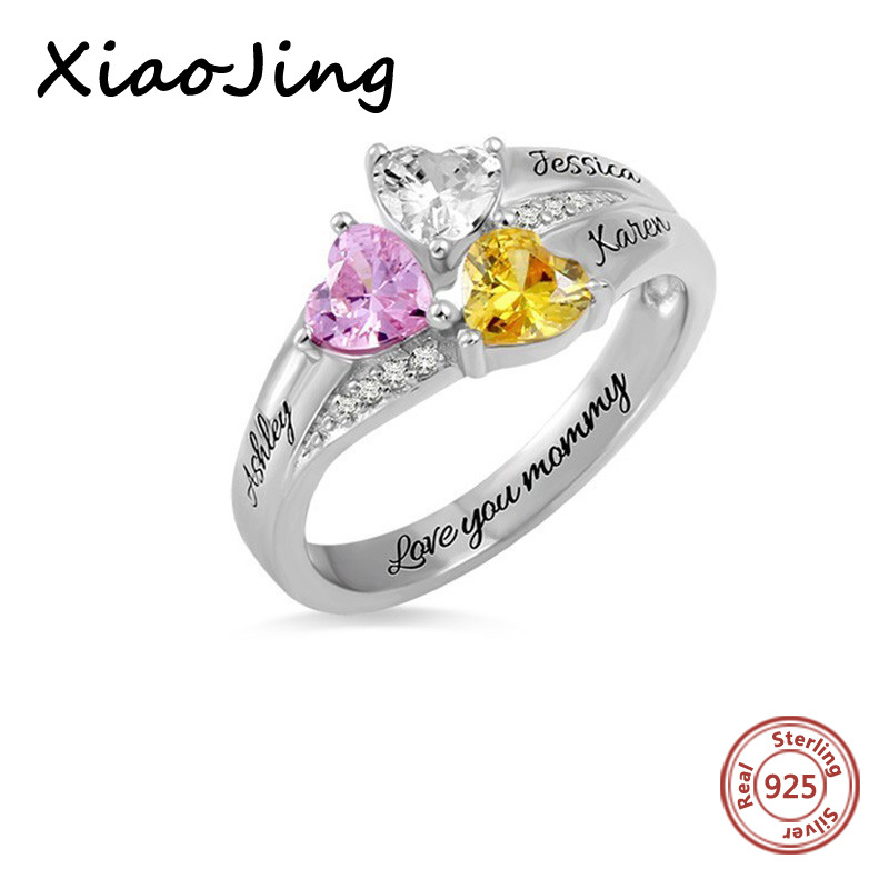 XiaoJing 925 Sterling Silver Personalized Family Name Ring DIY Customize Engrave 3 Names Rings for Mother 39 s Day Best Gifts in Rings from Jewelry amp Accessories