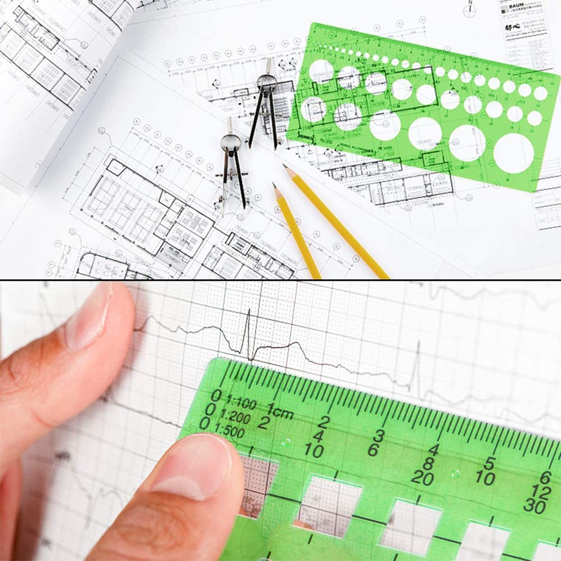Vidillo Measuring Template Stencil 6 Pcs Circle Drawings Templates Plastic Building Formwork Stencils Geometric Drawing Rulers for Office and School A