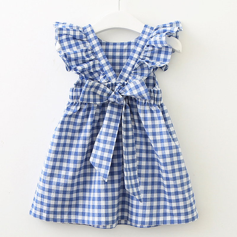 2021 New Summer Flying sleeve Plaid Baby Girl Clothes Ruffles Backless Children Dress Leisure Lovely Baby Dress Kids Clothing 1