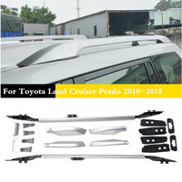 ABS + Aluminium legering Auto Dak Rails Rack bagage bagage Carrier Bars Fit Voor Toyota Land Cruiser Prado 2010- 2018