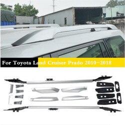 ABS + ze stopu Aluminium ze stopu Aluminium na dachu samochodu relingi stojak bagażu bagażnik barów nadające się do Toyota Land Cruiser Prado 2010-2018