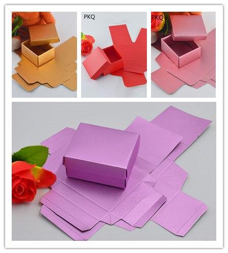 50pcs faveur de mariage papier boîte à bonbons bricolage Cookie coffrets cadeaux Kraft papier boîte d'emballage avec couvercle petite boîte-cadeau