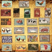 [Luckyaboy] Pig Duck Fresh Eggs Milk Metal Sign Farm Shop Home Wall Decor Vintage Poster Tin Plate Happy Chicken Retro  AL006