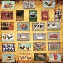 [Luckyaboy] cerdo de pato huevos frescos leche Metal signo granja tienda hogar Decoración de pared Vintage cartel hojalata plato pollo feliz Retro AL006
