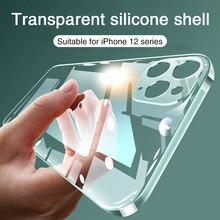 Ultra fino lente proteção caso do telefone para o iphone 11 12 pro 12 mini caso silicone macio capa para o iphone x xr xs 7 8 5 se caso