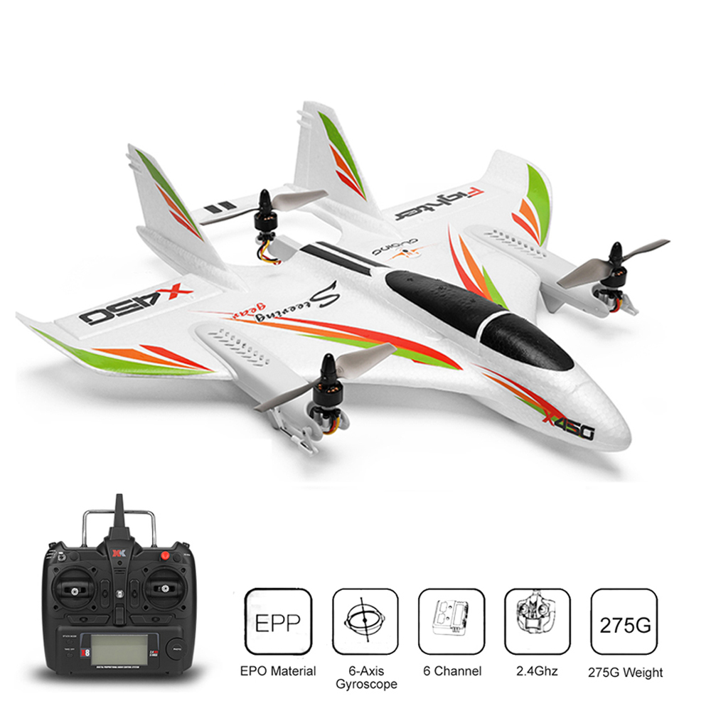 WLtoys XK X450 2,4G 6CH 3D/6G RC самолет бесщеточный вертикальный взлет светодиодный RC планер фиксированное крыло RC самолет RTF RC игрушка для детей