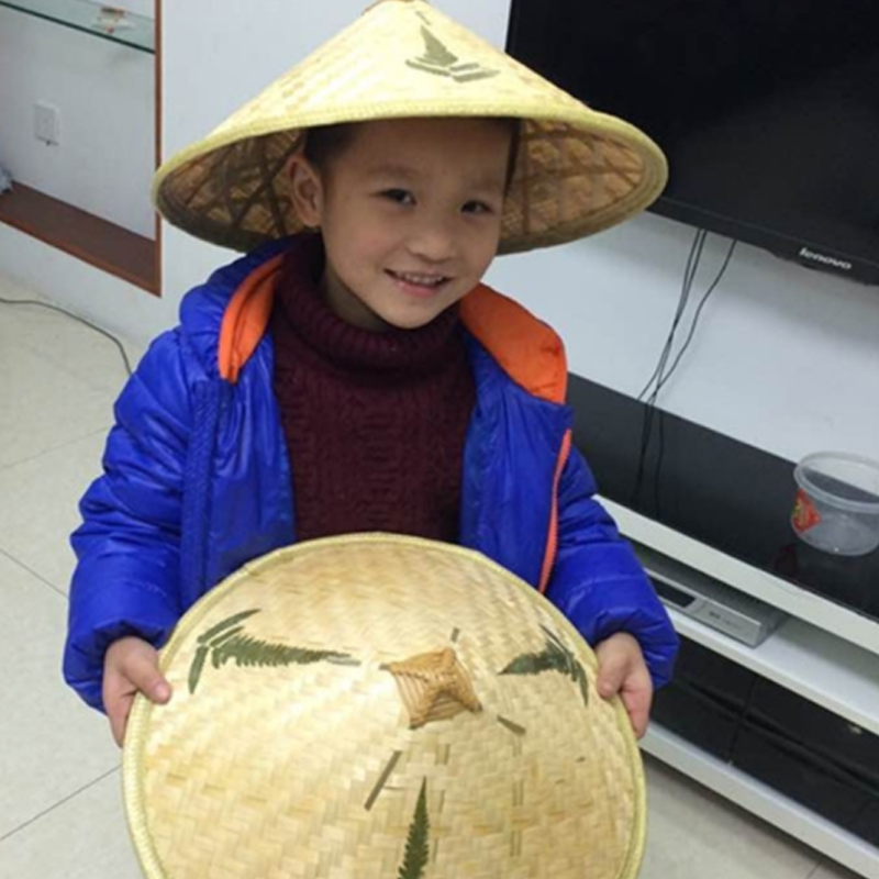 Neutral Children's Fighting Three-leaf Bamboo Hats Dance Props Travel Straw Hat Handmade Bamboo Hats Vietnam Hats Spot