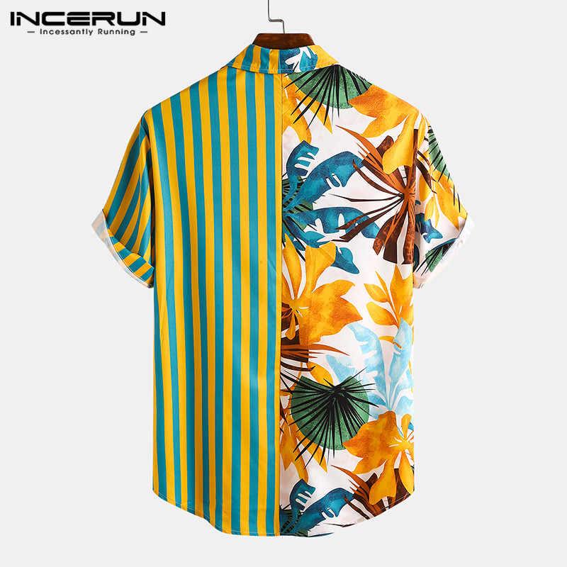 男性エスニックプリントシャツ半袖ラペルパッチワークシャツカジュアルルースソフトcamisas夏ハワイホリデーblusasプラスサイズ
