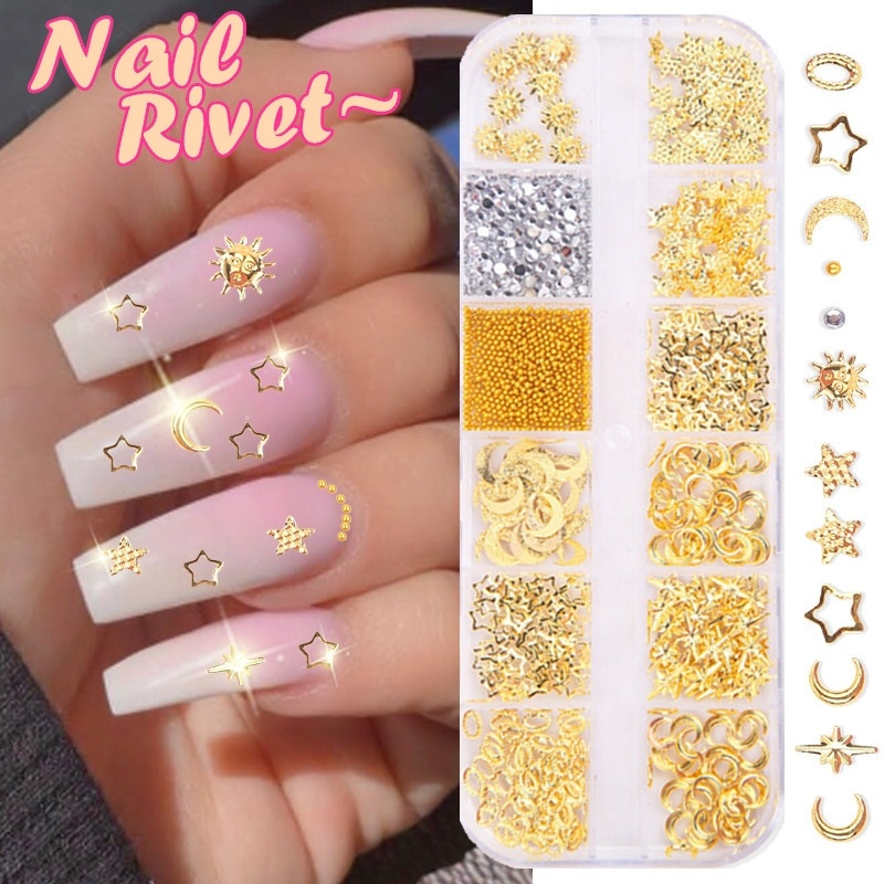 12 Grid Mixed Style Nail Art Moon Star Gold Metal Rivet Studs 3D DIY Charm Decoration Accessories