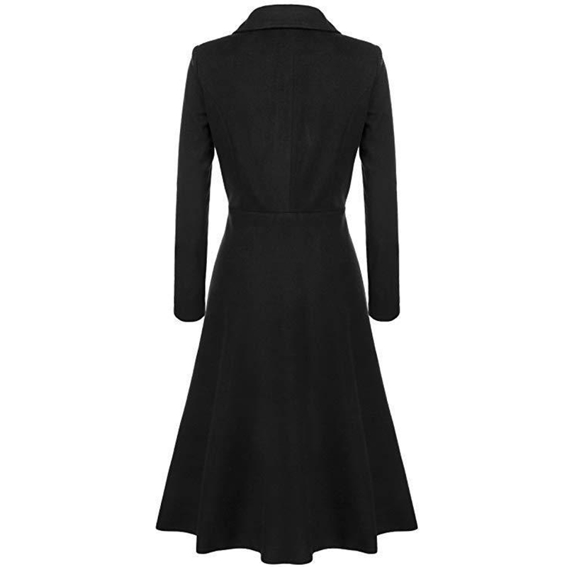 SWYIVY Women Wool Coats Long Design Female Casual Trench Coat Winter 2019 New Black white Slim Outwear Wool Coats For Women in Wool amp Blends from Women 39 s Clothing