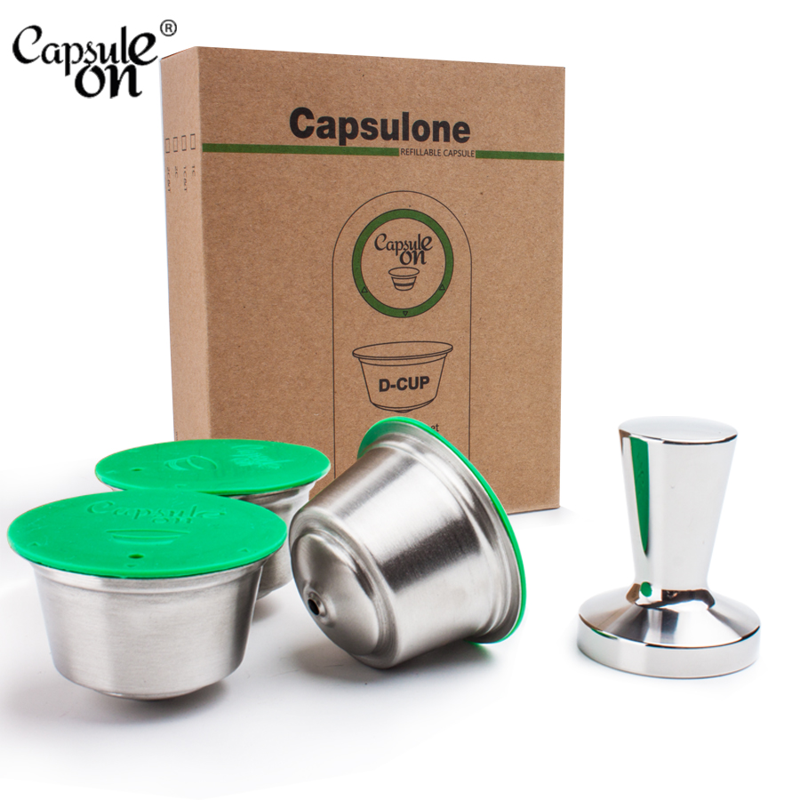 Capsulone/STAINLESS STEEL Metal Capsule Compatible For Dolce Gusto Machine  Refillable Reusable Capsule And Tamper