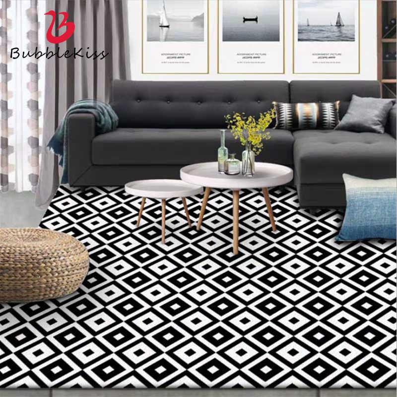 Stylish Modern Large Carpet Bedroom Decor Simple Black And White Geometric Lattice Carpets For Living Room Bedroom Area Rugs Carpet Aliexpress