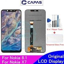"""מקורי עבור Nokia 8.1X7 LCD תצוגת מסך מגע Digitizer עצרת עבור Nokia X7 מסך החלפת 6.18 """"תיקון חלקי חילוף"""
