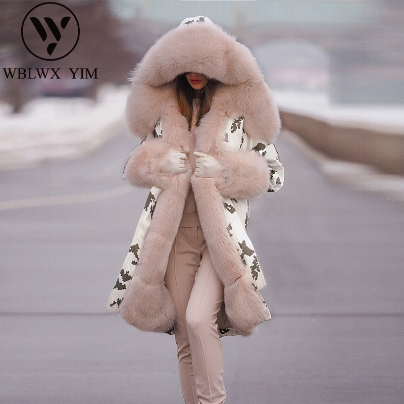 Winter Jacket Padded-Coat Parkas Hooded Big-Fur-Collar Print Female Warm Long Fashion title=