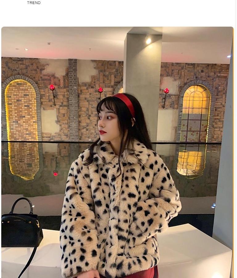 H0b0ee7789c3d4af5802bd8df0f13c5edA Plush jacket women winter short 2021 new Korean version of loose lamb wool faux fur leopard print fur coat women winter