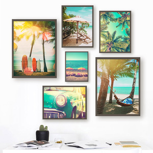 Beach Surfboard Coconut Tree Hammock Car Wall Art Canvas Painting Nordic Posters And Prints Wall Pictures For Living Room Decor