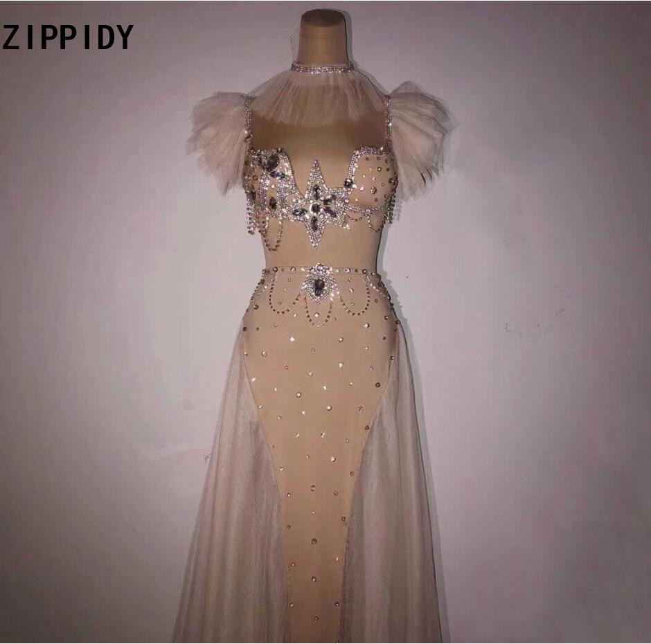 Silver Rhinestones See Through Dress Bar Birthday Celebrate Dress Dance Outfit Prom Female Singer Long Dresses