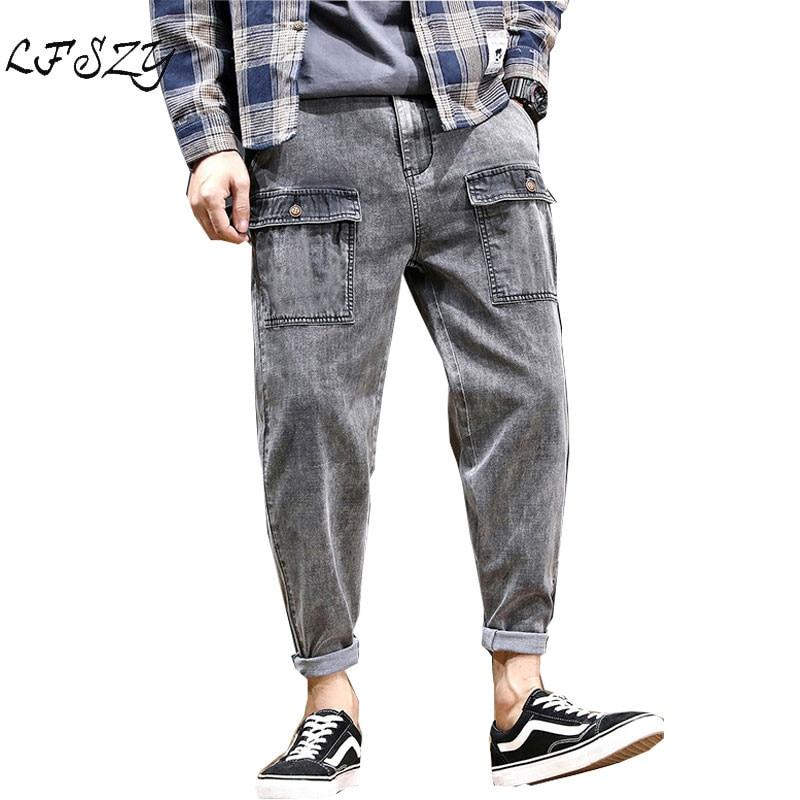 Jeans Men 2019 Autumn New Harlan Jeans Men's Straight Large Size Loose 9 Nine Pants Multi Pocket Smoke Grey Jeans
