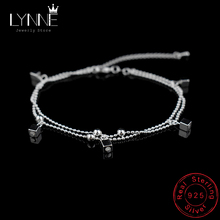 Bracelet 925-Sterling-Silver Anklets Chain Jewelry Women Pendant Beach Ball for Square