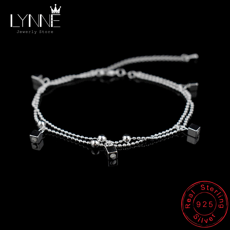 New Ladies Beach Square Pendant Foot Anklet 925 Sterling Silver Double Layer Small Ball Chain Anklets Bracelet For Women Jewelry