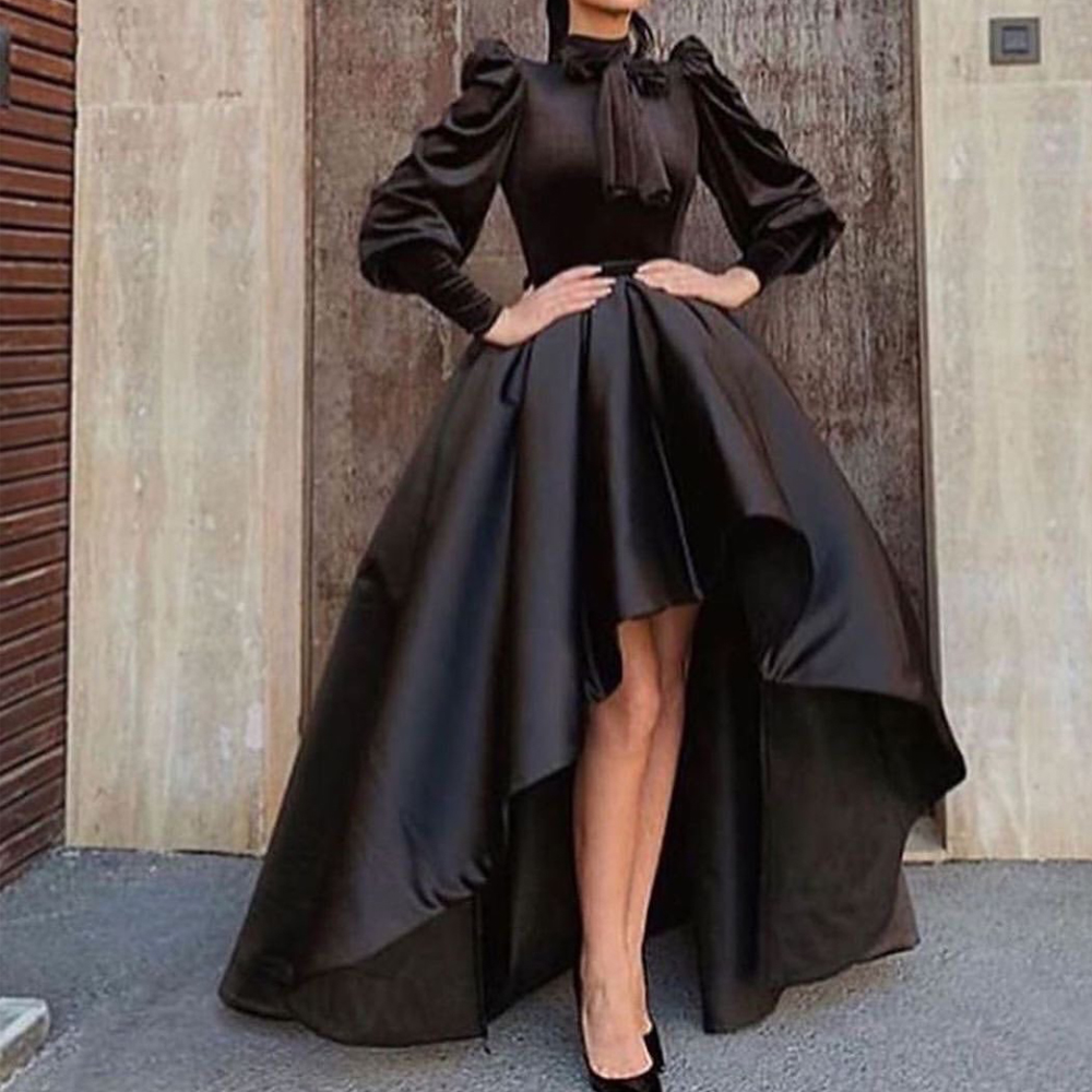 Black Prom Dresses 2020 High Neck Long Sleeve Pleats Bow High Front And Low Back Evening Dresses Vestidos De Fiesta