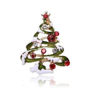Christmas brooch Skiing Santa Snowman Pin Badge Gloves Socks Crutches Bells Wreaths Christmas Tree Gift Cloth Decoration