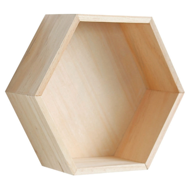 Nordic Style Nursery Kids Room Decoration Shelf Wooden Yellow White Honeycomb Hexagon Shelves For Baby Child Bedroom Decoration
