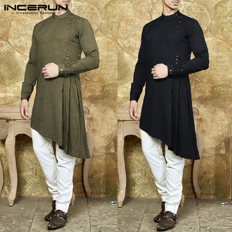 INCERUN Mens Casual Indian Long Shirt Long Sleeve Muslim Cotton Solid Color Asymmetric Hem Kaftan Men Tops Camisa Masculina 3XL
