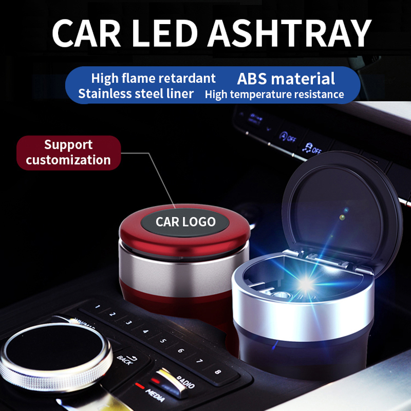 CHEPINFA LED Lighting Car Ashtray High Flame Retardant Auto Ashtray Fireproof Material Fit Most Cup Holder Ashtray Easy Clean