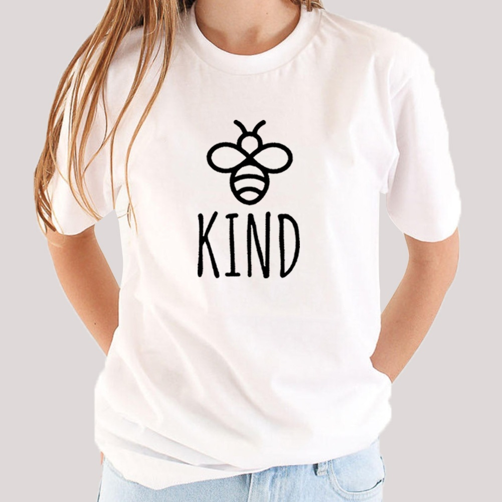 Cute Bee Kind Graphic Tees Women Short Sleeve T Shirt Women O-neck Tee Shirt Femme White Cotton Tshirt Women Top Chemise Femme
