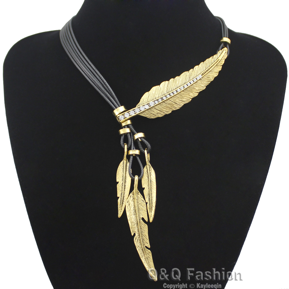 Vintage Gold  Silver  Indian Big Leaf Feather Pendant Necklace Charms Lariat Leather Zuni Navajo Bib Necklace Hip Hop Jewelry