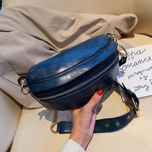 Image 4 - [BXX] Retro deri kadınlar için Crossbody çanta 2020 bayan askılı çanta katı renk çanta ve çantalar zincir göğüs çanta HI751