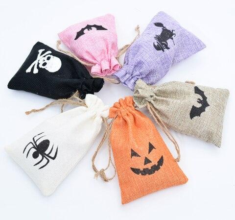 Bolsas de Linho Bolsa de Algodão Bolsa de Presente Bolsa de Higiene Bolsas de Jóias Halloween Decoração Cordão Organizador Pessoal Case Cosméticos Presentes