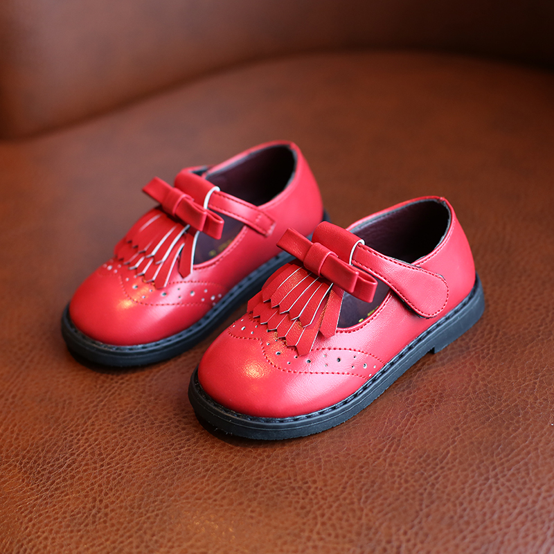 Kids Leather Shoes 2019 Spring Autumn Girls Single Shoes Retro British Wind Non-slip Princess Shoes Baby Shoes Red Brown Black