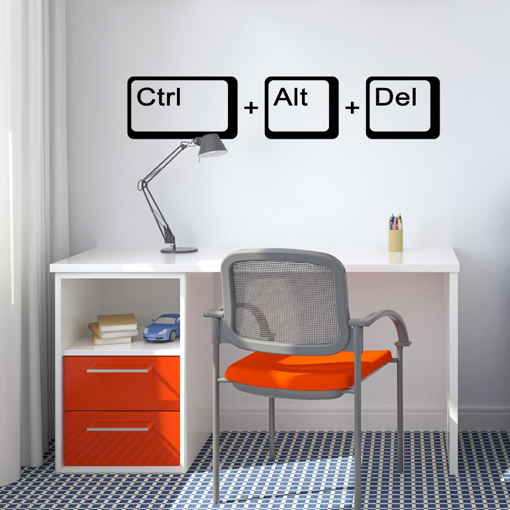 Ctrl Alt Del Computer Geek Science Wall Decal School Kids Room Laptop Gamer Quote Wall Sticker Vinyl Home Decor Game Mural G794 image