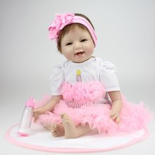 лучшая цена NPK 55CM Smile Face Bebe Reborn Doll Lifelike Soft Silicone Reborn Baby Dolls Toys For Girls Birthday Gift Fashion Baby Dolls