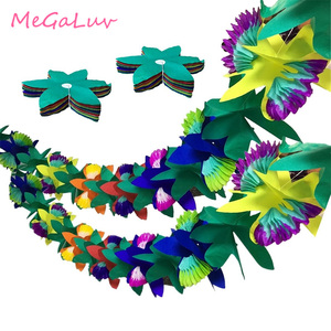 2set 3m Tissue Flower Leaves Luau Paper Garland Tropical Jungle Birthday Party Decorations Hawaiian Themed Party Supplies(China)