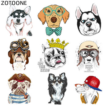 ZOTOONE Iron on Animal Patch Cute Dog Stickers for Clothing Application DIY Heat Transfers Appliques Washable Husky Patches D image