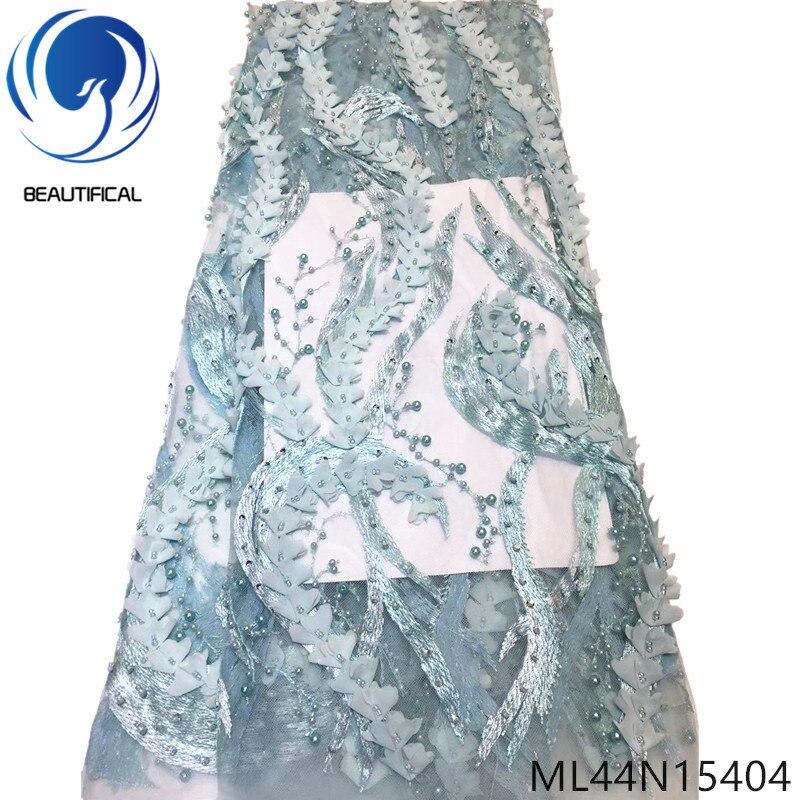 Beautifical 3d tecido de renda francesa strass e contas tule tecido renda para vestido alta qualidade tecido renda nigeriana ml44n154 - 6