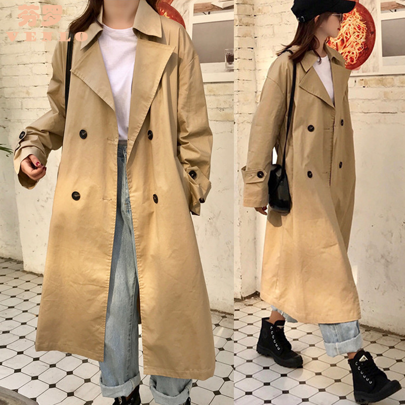 Women In 2019, The Spring And Autumn Fashion Style Of Loose Long Ditch Female Leisure Khaki Red Windbreaker Overcoat
