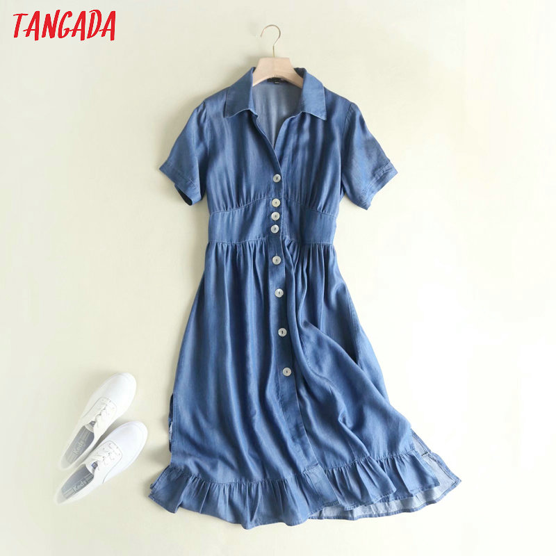 Tangada Women Denim Dress Pleated Tunic Turn Down Collar Short Sleeve Ladies Elegant Midi Dress Vestidos 2P11