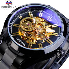 Forsining Steampunk Mechanical Watch Mens Automatic Skeleton Black Stainless Steel Belts Business Male Wristwatches Reloj Hombre