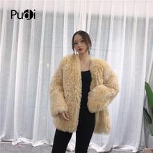 Pudi TX223911 women winter casual 100% Real sheep fur coat jacket overcoat lady fashion genuine outwear