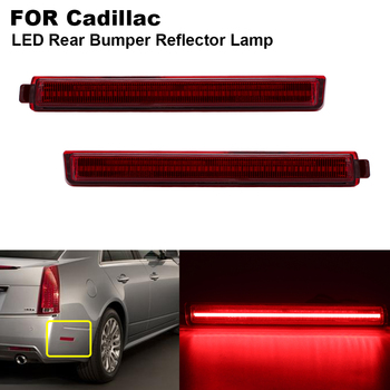 2PCS Smoked/Red lens Red Light Rear Bumper LED Reflector Brake light For Cadillac CTS CTS-V 2008 2009 2010 2011 2012 2013 image