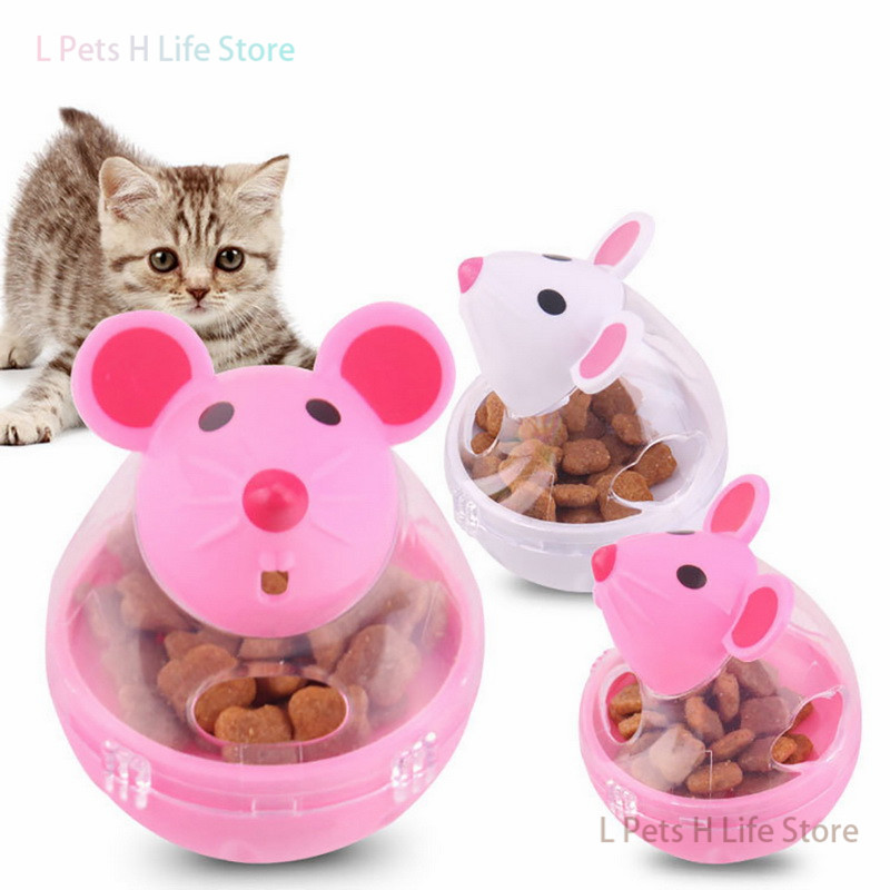 new Pet Cat Feeder Fun Tumbler Mouse ABS Mice Shape Interactive Toys Educational clean tooth cat toy Leaking Food Balls Toy
